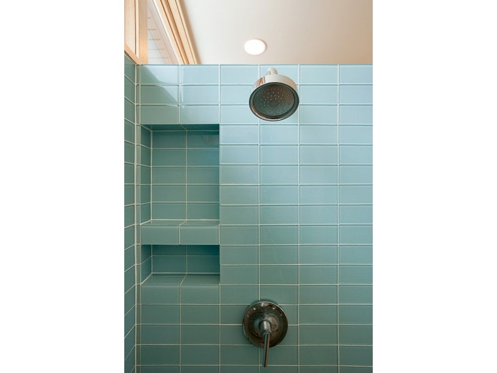 Modwalls Lush Vapor 3x6 Glass Subway Tile Shower | Vintage green ...