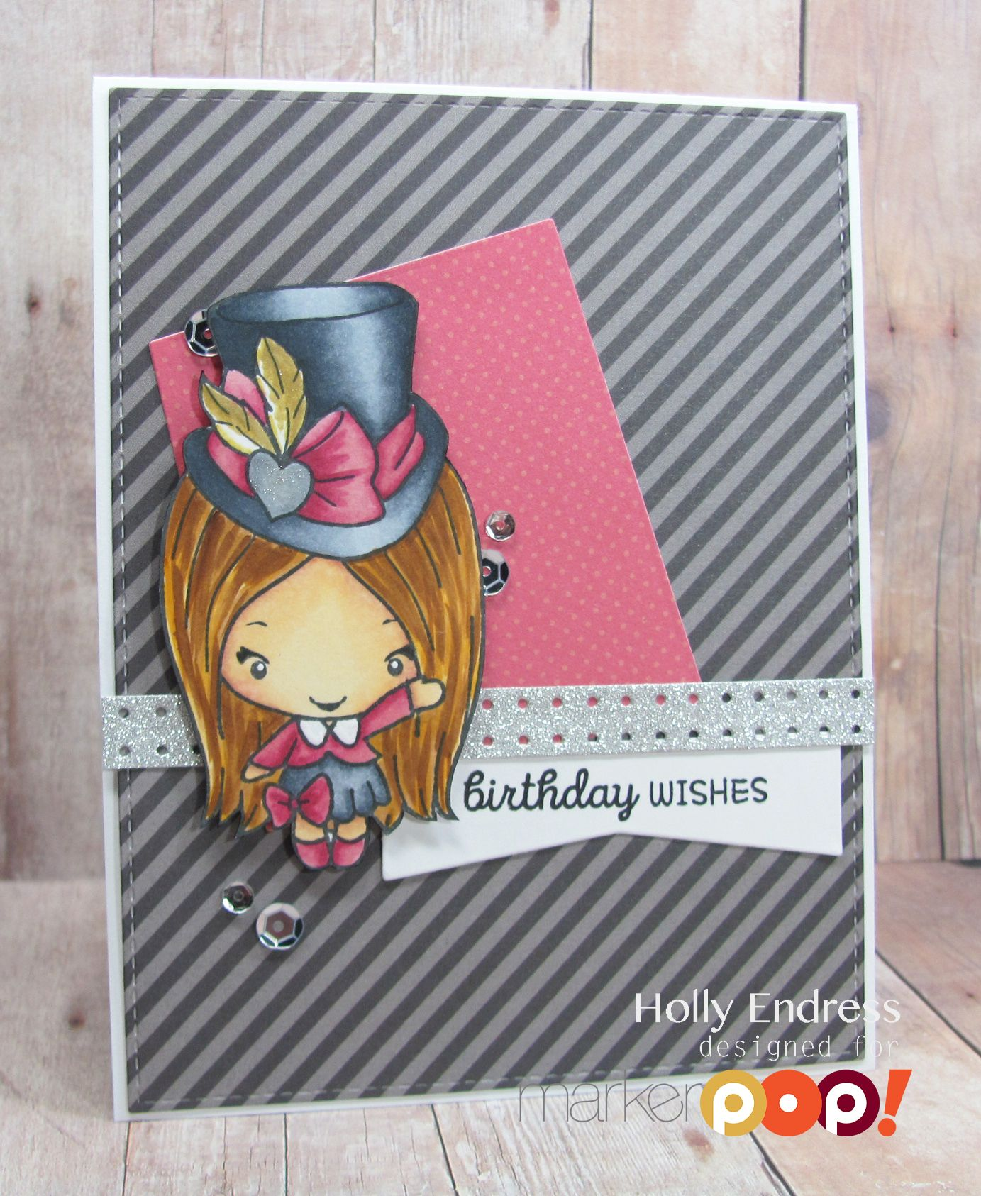 Hi everyone it's Holly here.. I hope you are all ready for the weekend! Today I'm sharing a cute card using the newest kit collection from The Greeting Farm called Hatters. This is a set of 8 Bean images and a few sentiments. I'm using the adorable Amy image along with some Copic Markers. I …