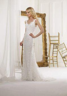 Floor Length Sleeveless Lace & Tulle Mermaid V Neck Natural Waist Wedding Dresses - 1300300677B - US$309.99 - BellasDress