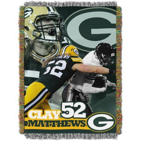 NFL 48 inch x 60 inch Players Series Tapestry Throw, Clay Matthews, Multicolor