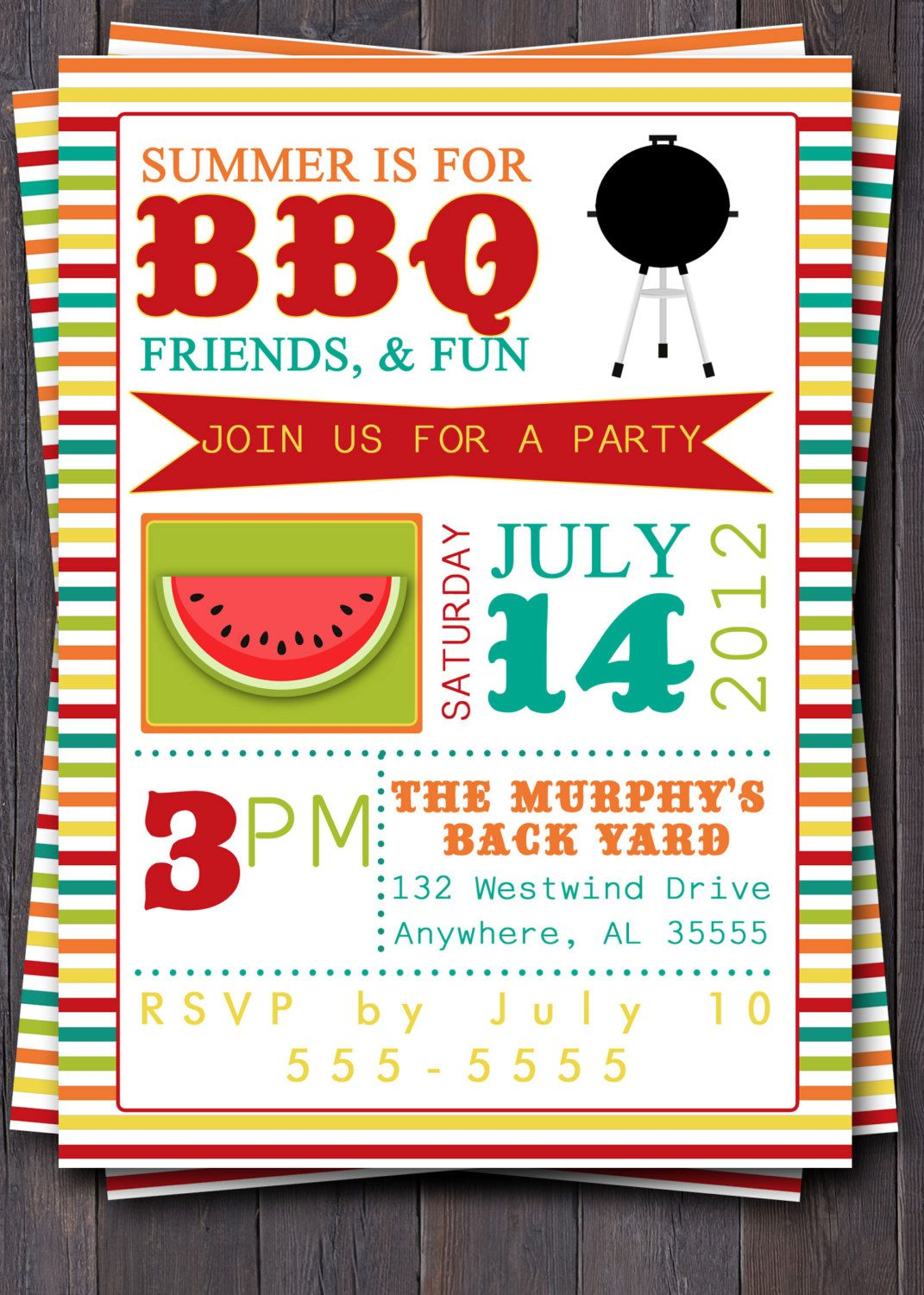 bbq party invitation invite birthday baby shower pool party