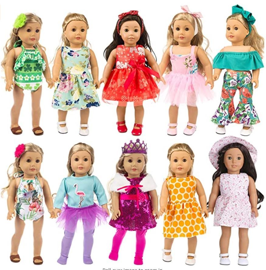 Zita Element 24 Pcs Girl Doll Clothes Dress For American 18 Inch Doll Clothes And Accessories In 2020 American Girl Clothes Kids Boutique Clothing 18 Inch Doll Clothes