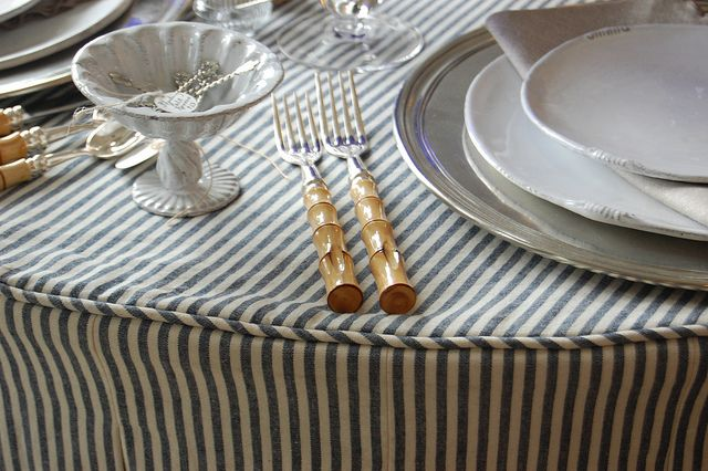 ticking tablecloth