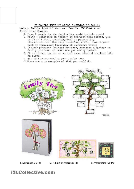 Family Tree Project Family Tree Worksheet Family Tree Project Spanish Family Tree