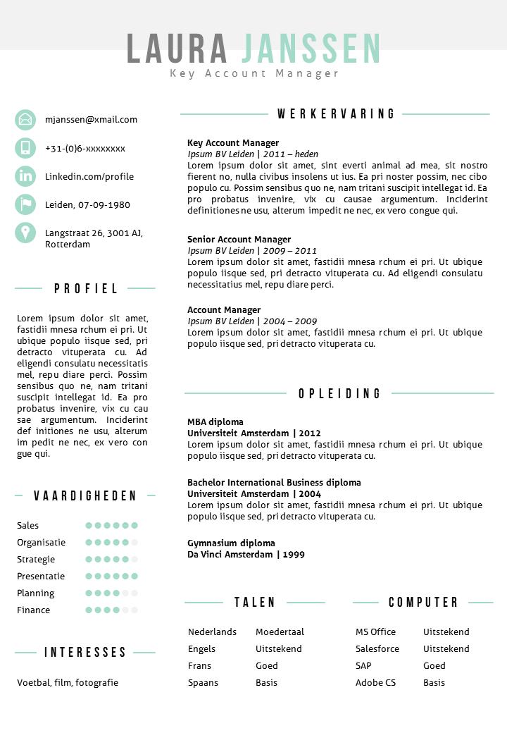 CV sjabloon in Word en PowerPoint met bijpassend sollicitatiebrief