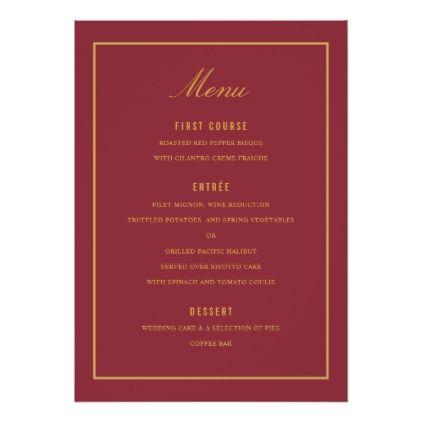 Elegant Burgundy And Gold Border Wedding Menu Card