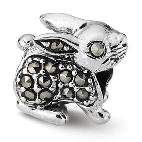 Floppy Eared Bunny Rabbit Bead - 925 Sterling Silver charm - fits Pandora, Biagi & Troll bracelets