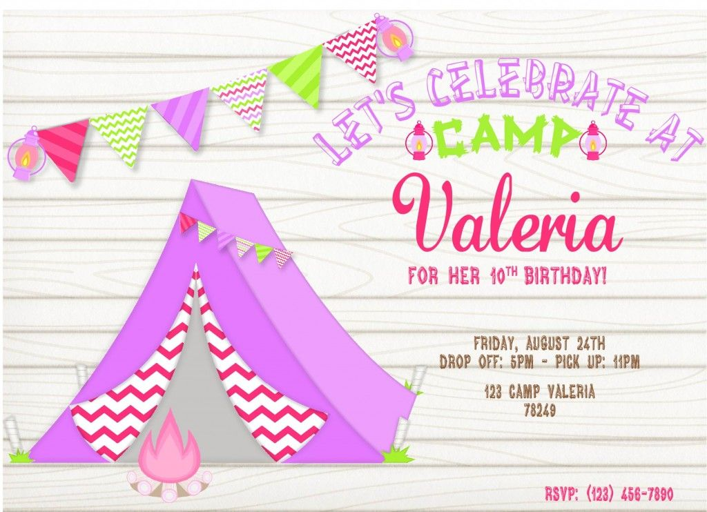 girl camping party invitations – Party Invitations for Girls