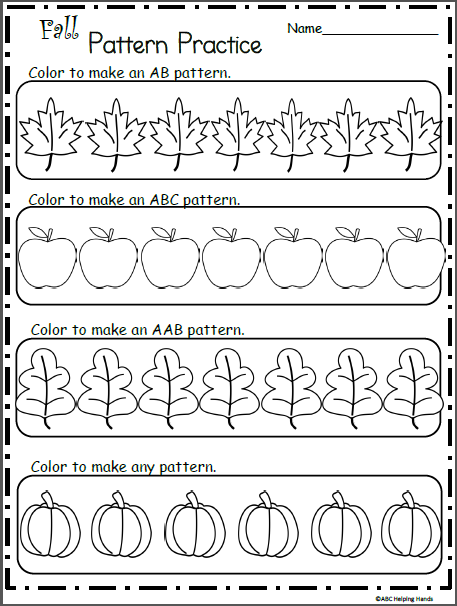 Make Fall Patterns Coloring Worksheet | Grade 1 fall | Pinterest | Kind