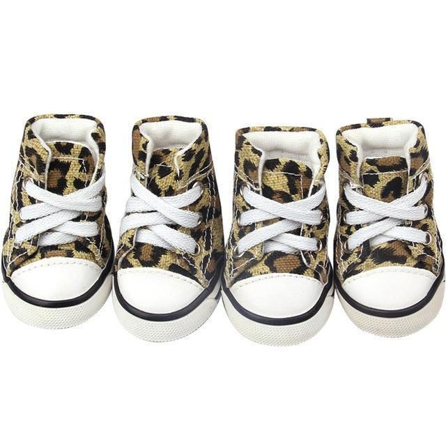 be570bddb506 Converse Dog Shoes - Leopard Print Denim Dogs will look hip and fabulous in  these kickin