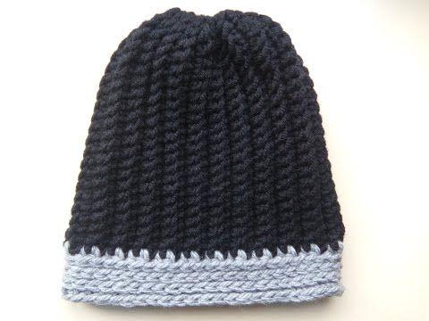 Crochet Mens Ribbed Hat You