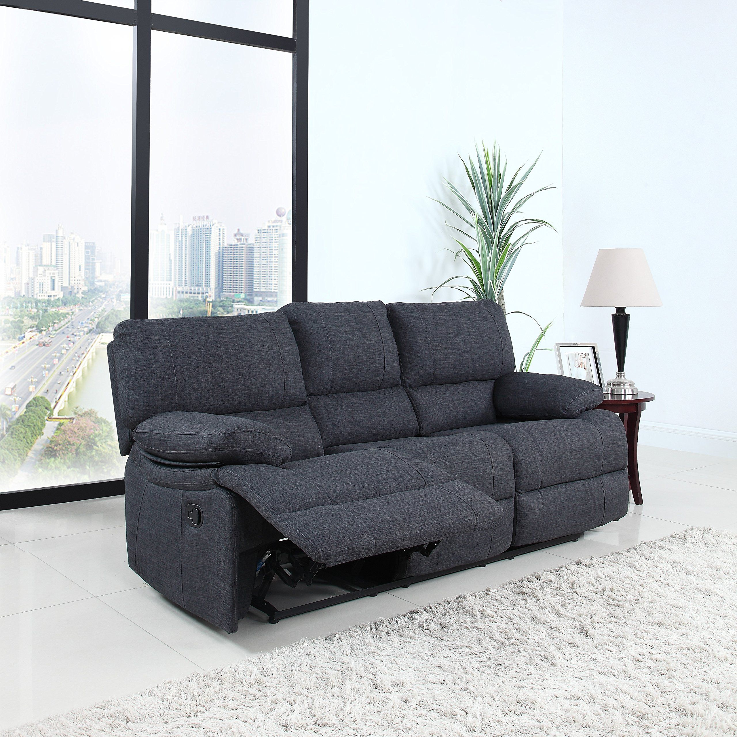 Classic And Traditional Dark Grey Fabric Oversize Recliner Chair  ~ Traditional Reclining Sofa