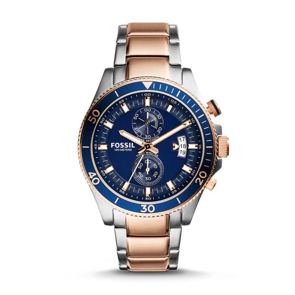 Fossil Wakefield Chronograph Stainless Steel Watch – Two-Tone 72215be32581