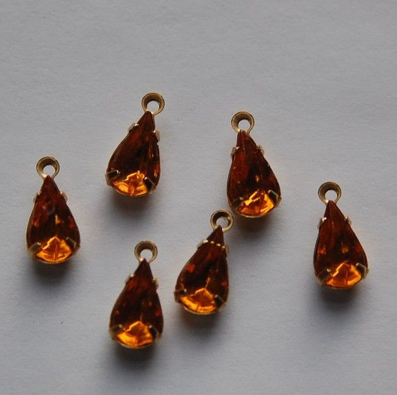 Vintage Glass Topaz Teardrop Stones in 1 Loop by yummytreasures, $2.99