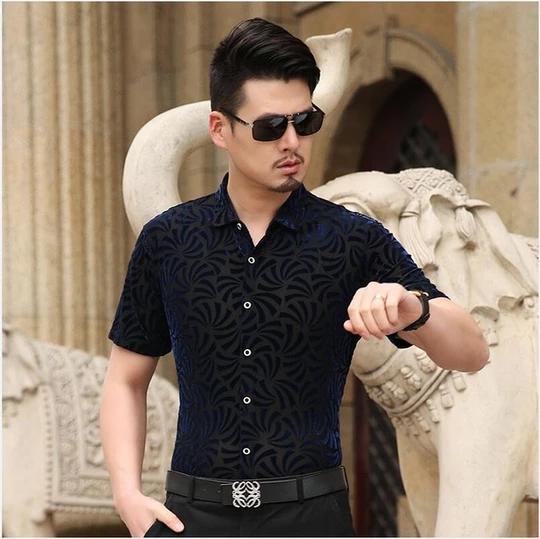 WAWAYA Mens Casual Long Sleeve Button Up Floral Print Club Dress Shirt Top
