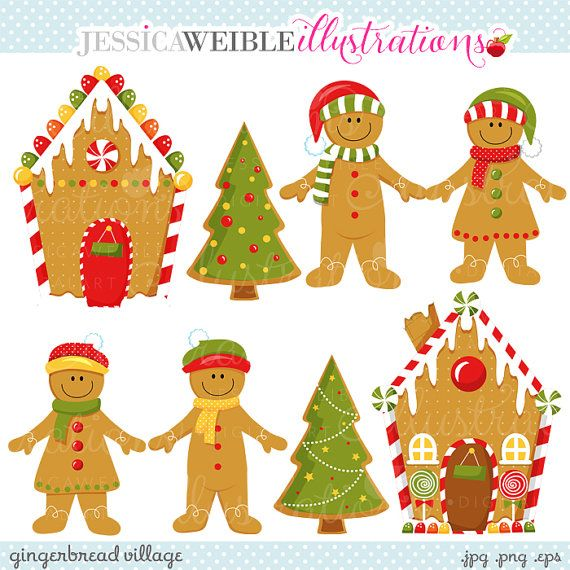 Printable Gingerbread vilage | Gingerbread Village Cute Digital Clipart - Commercial Use OK ...