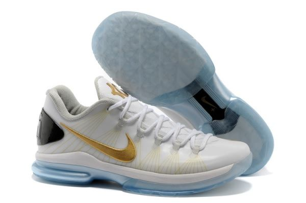 low priced 285ba 867a9 Nike Zoom Kevin Durant s KD V Elite Low Basketball shoes White Gold