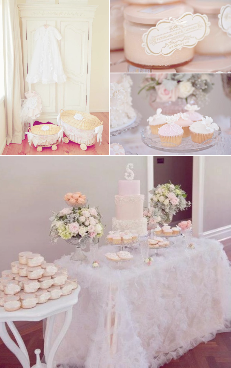 Vintage Pink Girl Christening Baptism Party Planning Ideas
