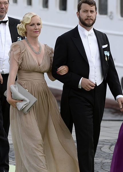 "Frida Bergström and the bride's cousin Victor Magnuson depart Riddarholmen to sail to Drottningholm Palace for the wedding banquet; wedding of Princess Madeleine of Sweden and mr. Christopher ""Chris"" O'Neill, June 8th 2013"
