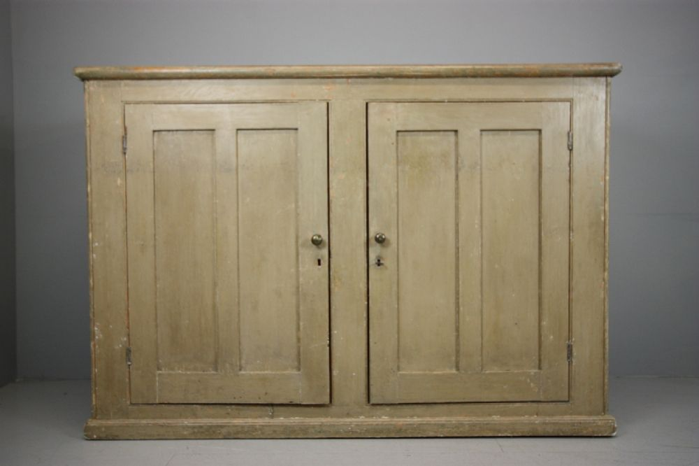 English Antique Cupboard In Original Lovely Paint Doors Storage Es