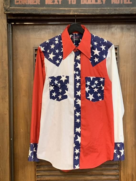 , Vintage 1970's Men's Red, White, & Blue Star Print Pop-Art Button Down Shirt, Vintage Pop Art, Vintage Men's, Vintage Western, My Pop Star Kda Blog, My Pop Star Kda Blog