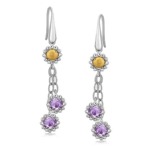 18K Yellow Gold and Sterling Silver Flower Style Amethyst Accented Earrings P150-07603