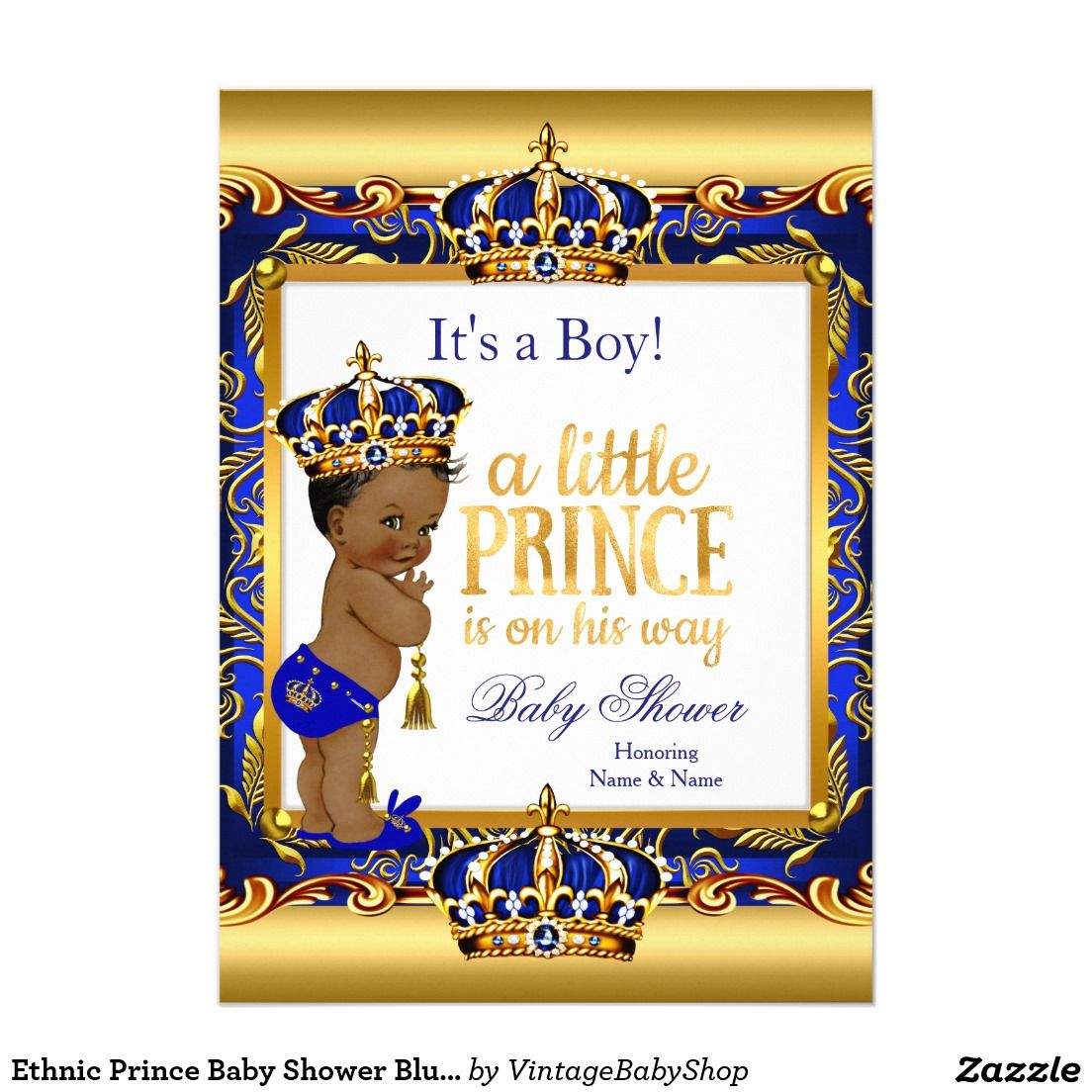 ethnic prince baby shower blue ornate gold card | blue gold prince, Baby shower invitations