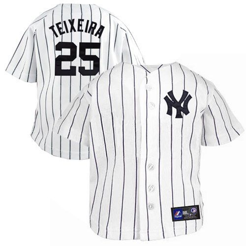 a0c4348d7 Majestic Mark Teixeira New York Yankees  25 Infant Pinstripe Player Replica  Jersey - White