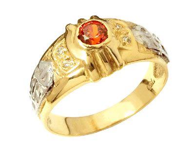 Anel de formatura música clássica  em ouro 18k 750 com 4 diamantes de 1 ponto cada e 1 pedra rubi natural