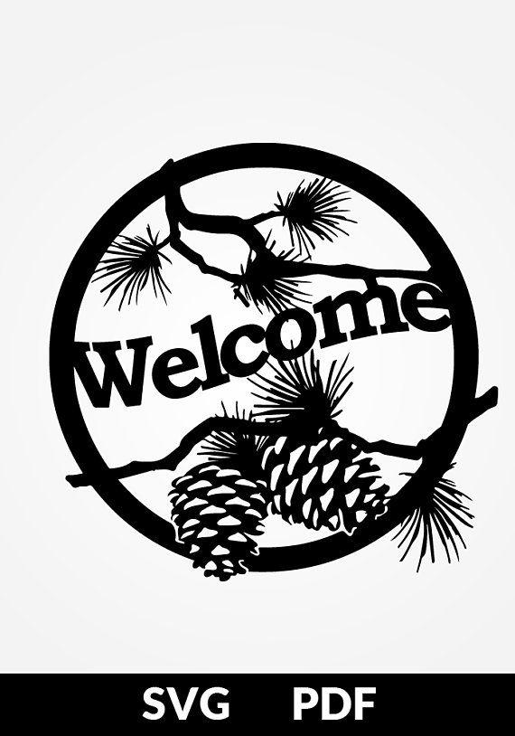SVG / PDF cut file, Paper Cutting Template, welcome sign, papercut