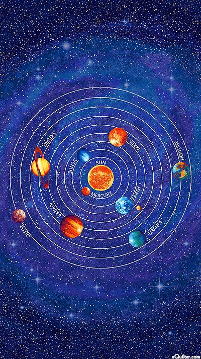 Stonehenge out of this world solar system 24 x 44 for Fabric planets solar system