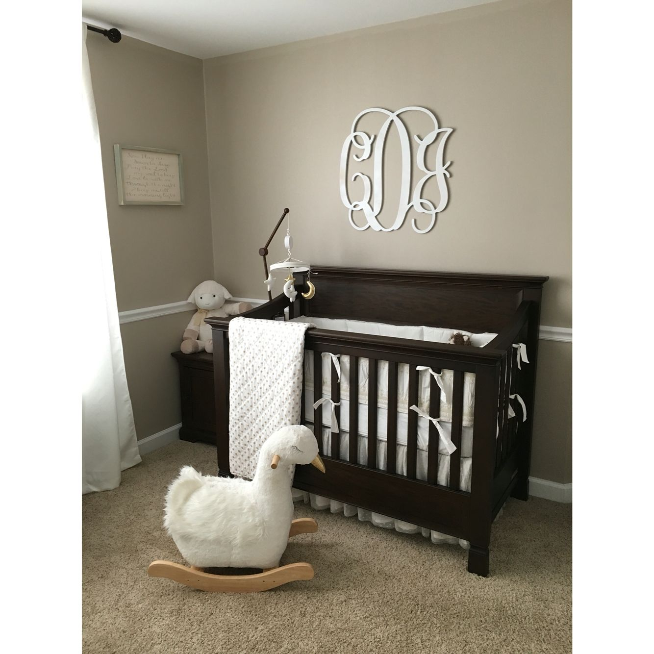 Pottery Barn Kids Larkin Crib And Swan Rocker Tan And White Nursery