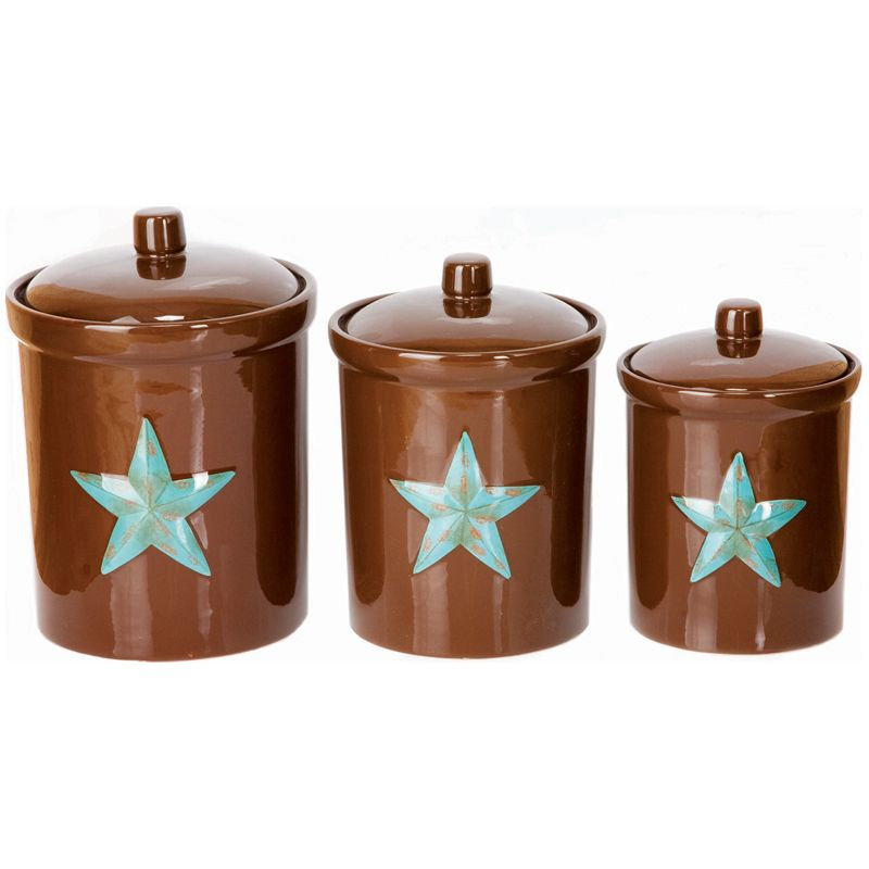 Chocolate And Turquise Kitchen | Brown Turquoise Star Canister Set