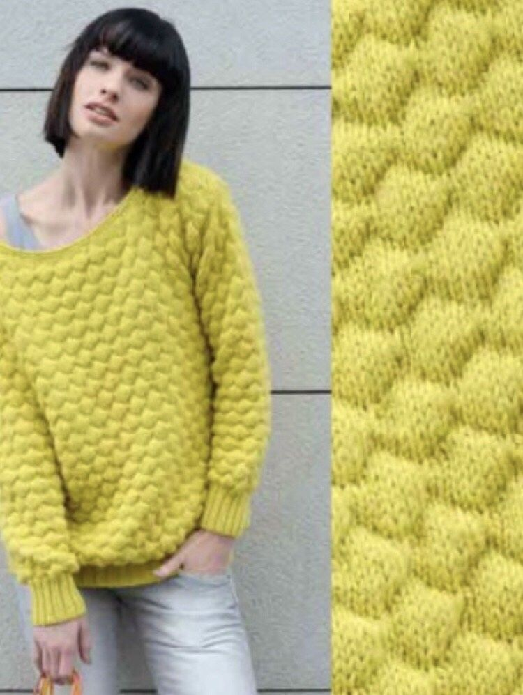 Le pull point fantaisie gaufré #tricotgratuit