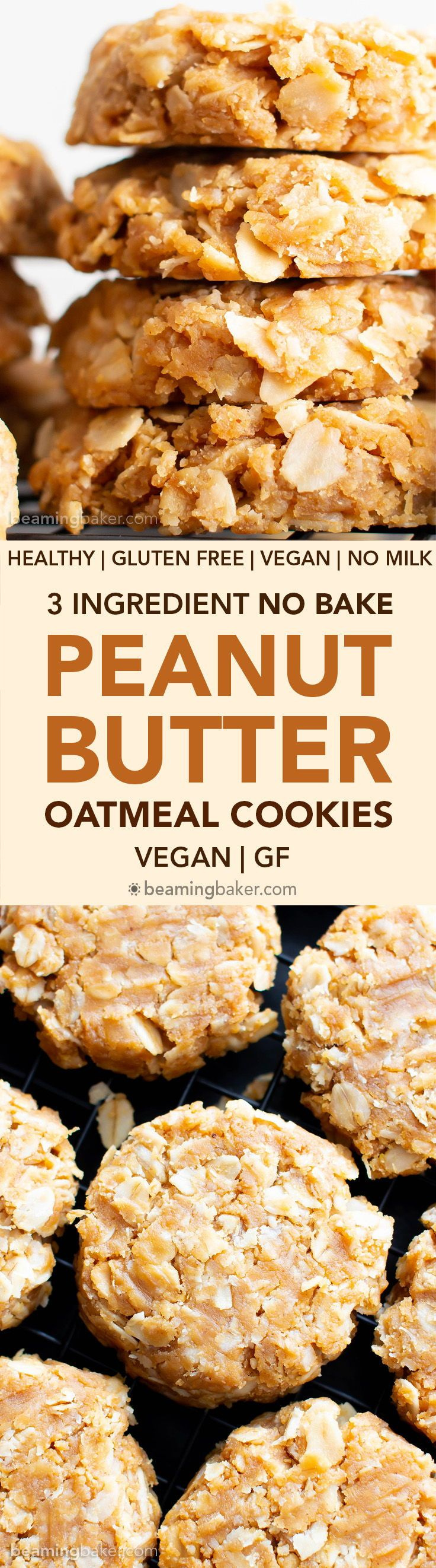 3 Ingredient No Bake Peanut Butter Oatmeal Cookies Super Easy