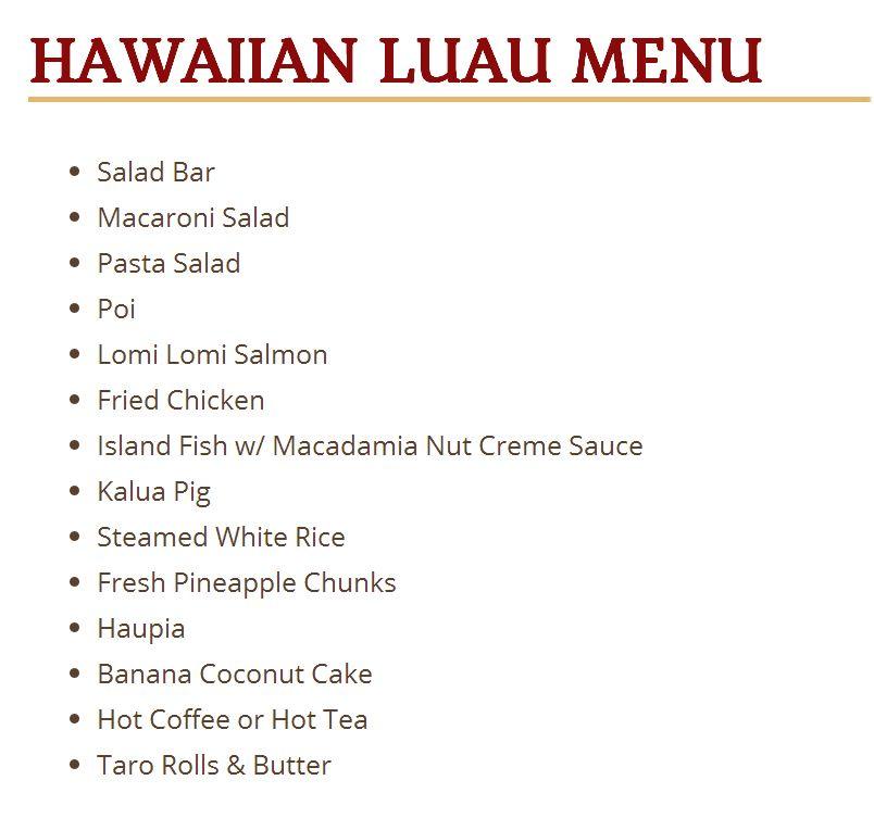 Luau dinner menu Ocean Breeze - Paradise Cove Luau Dinner Show - dinner menu