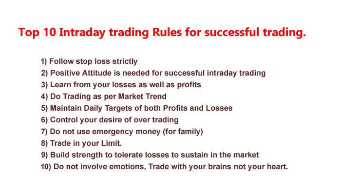 Top 10 Intraday Trading Rules For Successful Trading We Advised