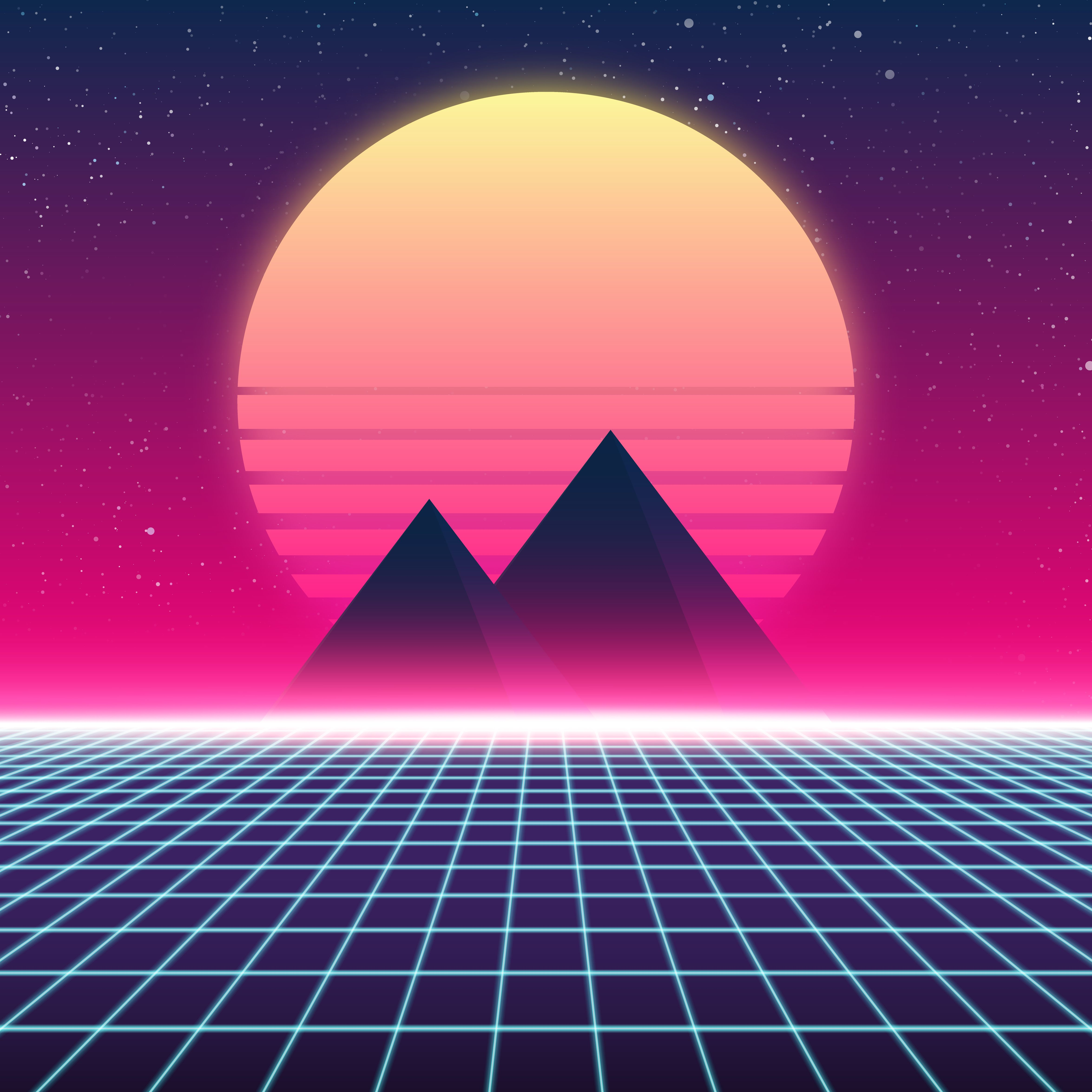 Vaporwave vector flat design. Synthwave retro pyramids and