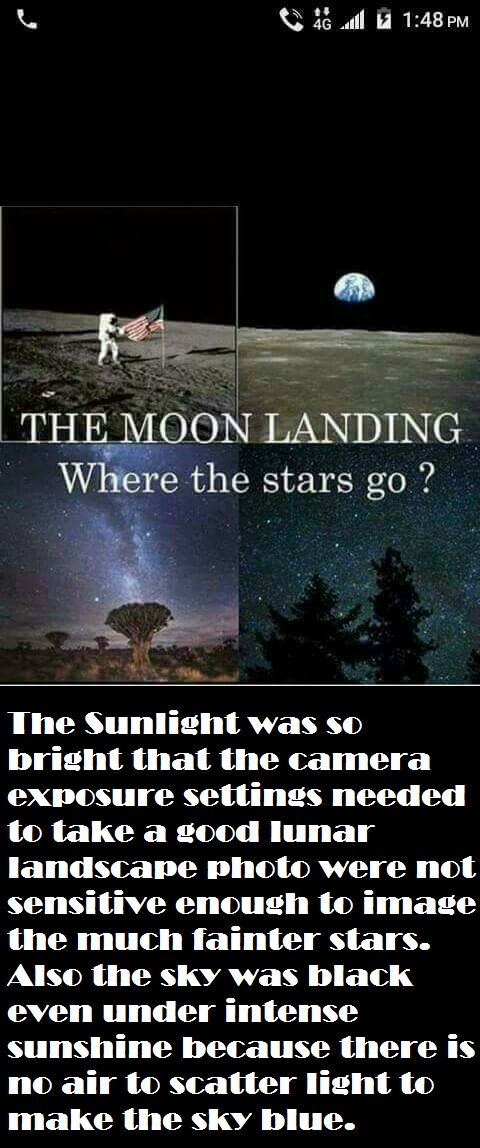 Why are stars not visible on the moon? #NASALies | Flat ...