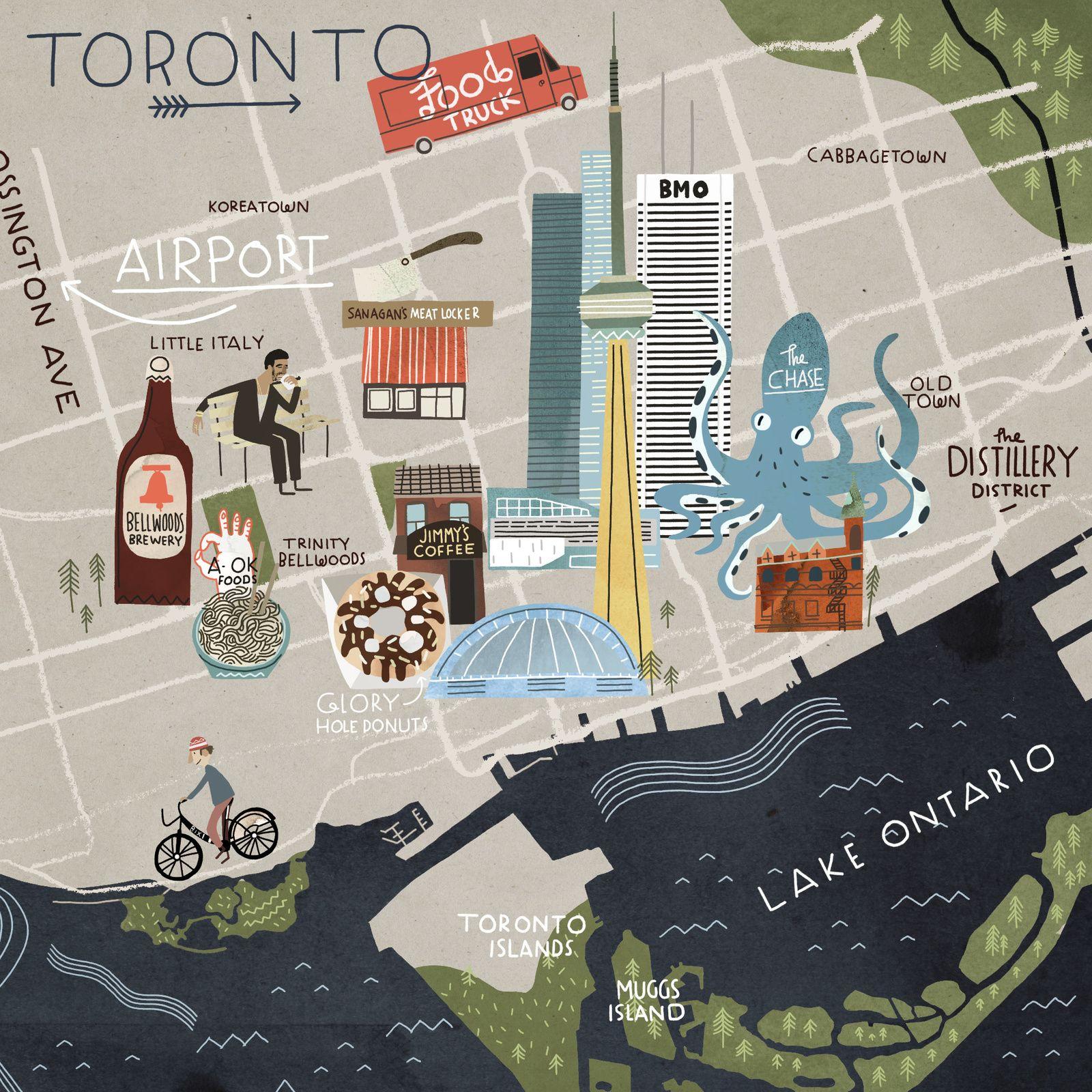 Steve McCarthy illustration Map of Toronto for Cara Magazine