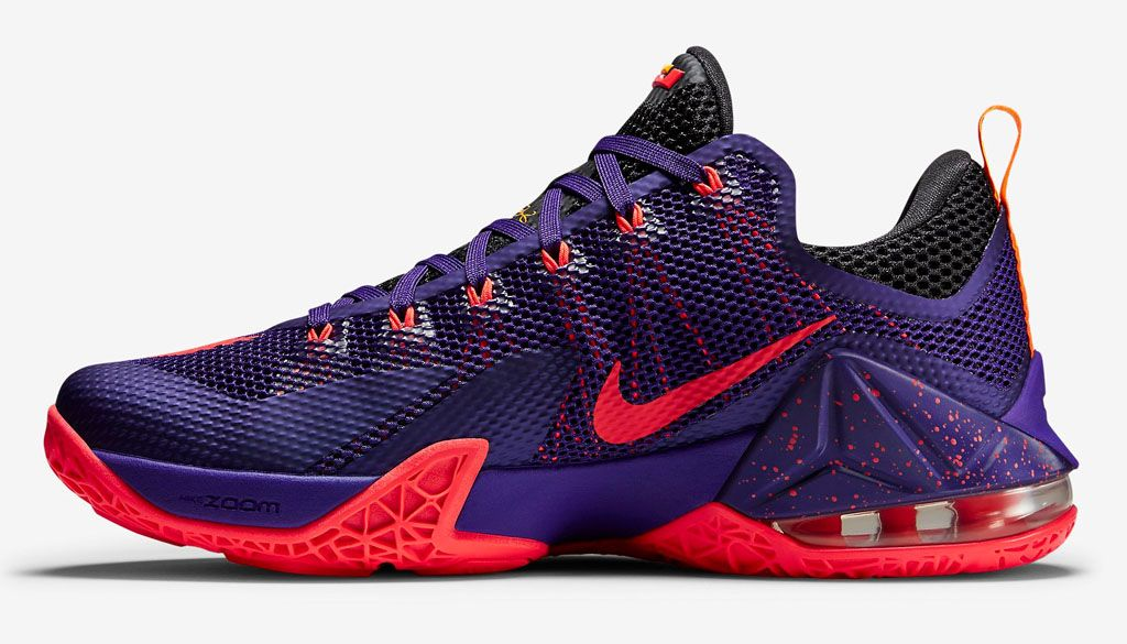 678c561aab15b Nike LeBron 12 Low Court Purple Bright Crimson Cave Purple Laser Orange
