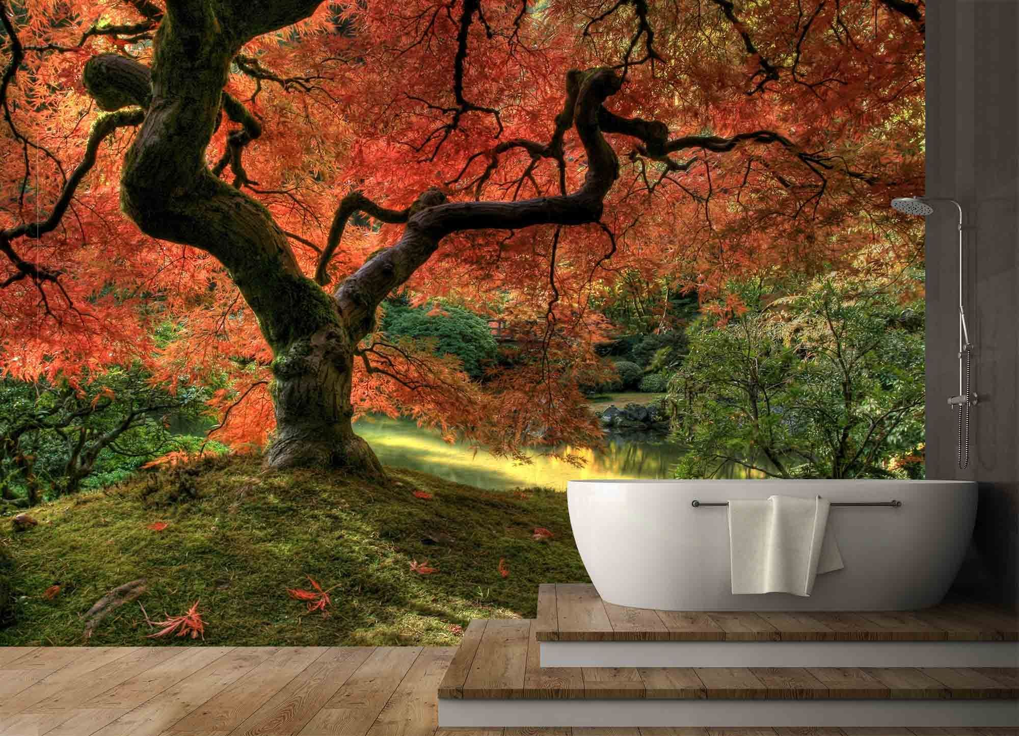 Rich In Vibrant Colors, This Japanese Garden Wall Mural Will