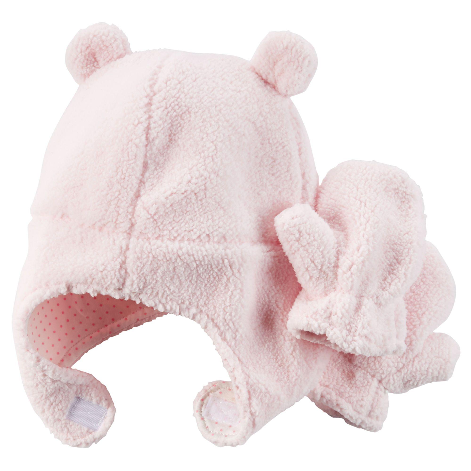 Carters Baby Girls Pilot Velboa Hat /& Mitten Set