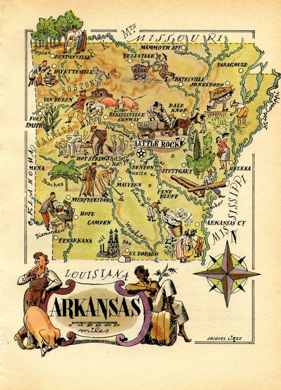 Arkansas Vintage Map 1946 United States USA by CarambasVintage