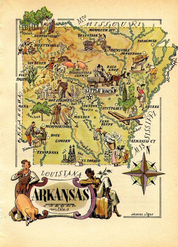 Arkansas Vintage Map 1946 United States USA by CarambasVintage