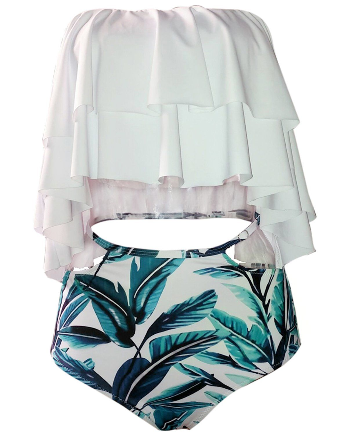 9e56627da Tempt Me Women Two Piece Off Shoulder Ruffled Flounce Crop Bikini Top With  Print Cut Out Bottoms White L