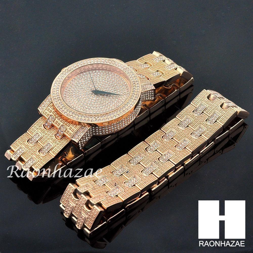 Hip hop iced out meek mill lab diamond rose gold watch u bracelet