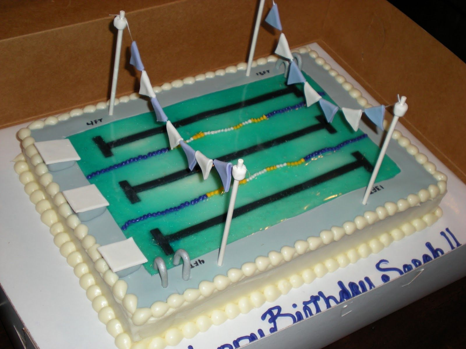 Swimming Pool Cake Ideas find this pin and more on pool party ideas swimming pool cake Swim Race Cake Super Cool Swimming Pool Birthday Cake