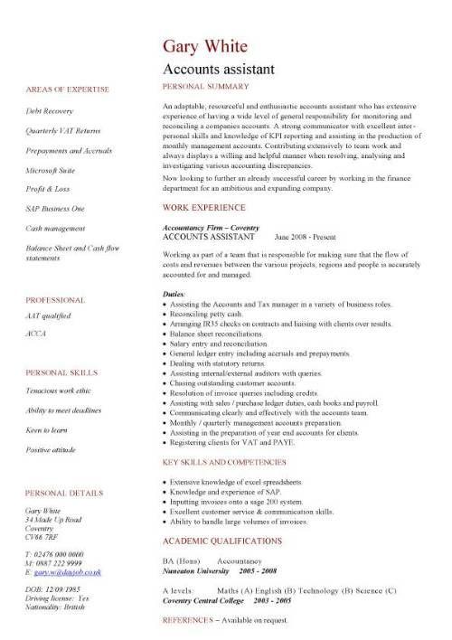 Accounts Assistant Cv Cv Resume Cv Template