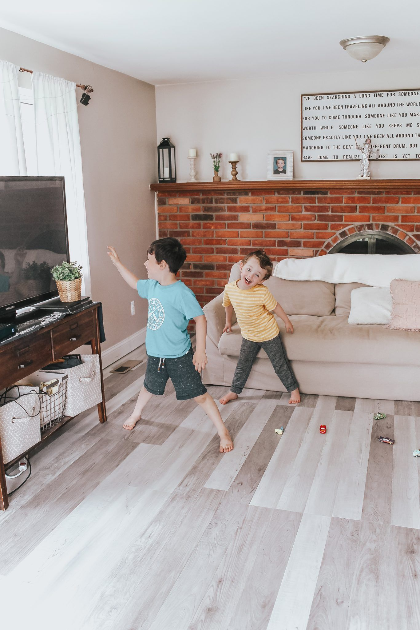 Living Room Makeover Diy Flooring  #Tarketthome #Ad #Tarkettflooring #Diy